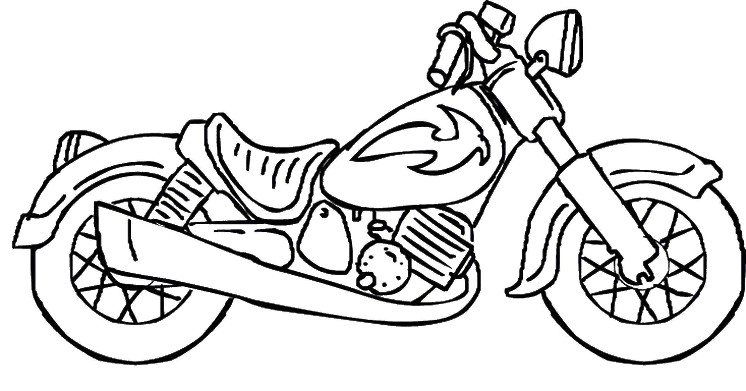 Раскраски мотоцикл, Раскраска Байкерский мотоцикл транспорт.