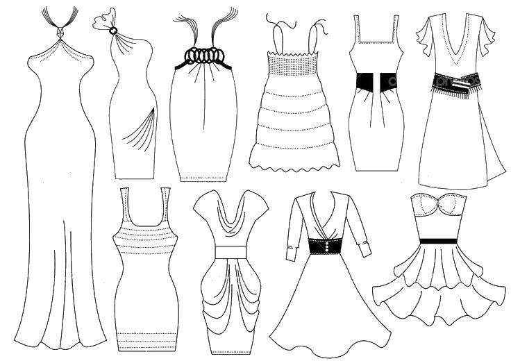 Раскраска Чудесные красивые платья Скачать Одежда, платье.  Распечатать ,Платья,