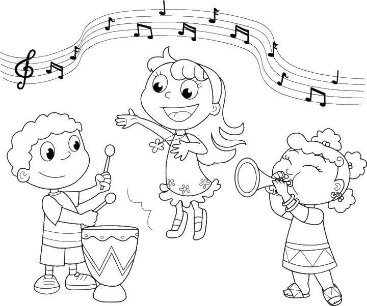 Раскраска Дети играют на музыкальных инструментах Скачать музыка, дети.  Распечатать ,Музыка,