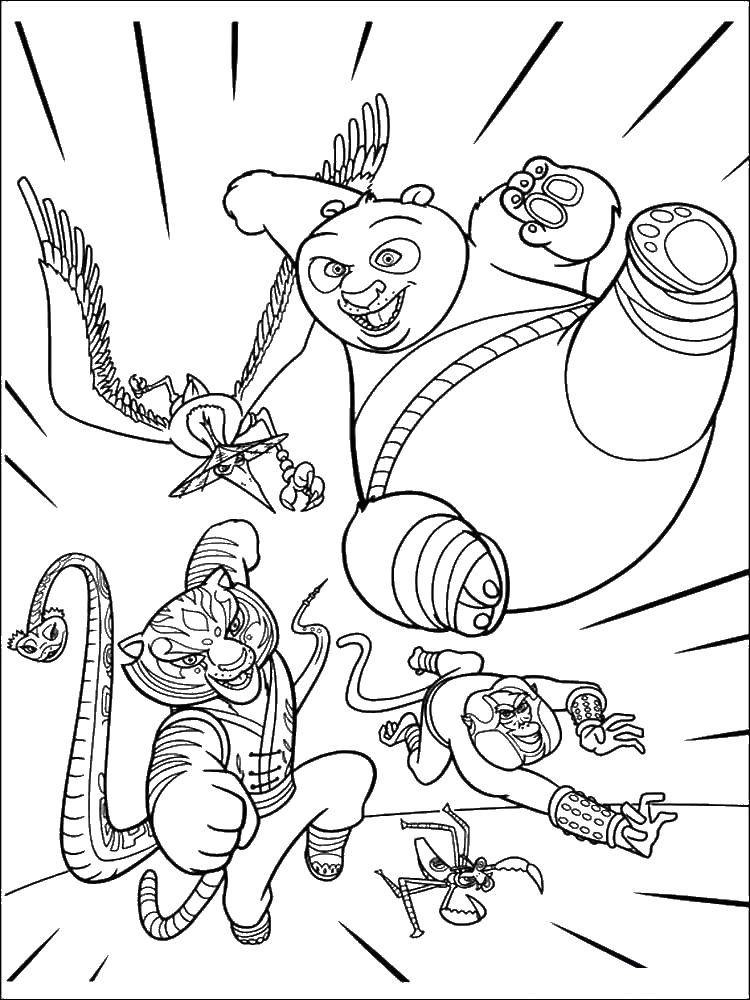 Раскраска Храбрая команда. Скачать Персонаж из мультфильма.  Распечатать ,кунг фу панда,