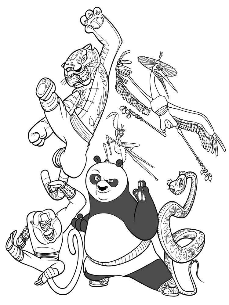 Раскраска Команда по. Скачать Персонаж из мультфильма.  Распечатать ,кунг фу панда,
