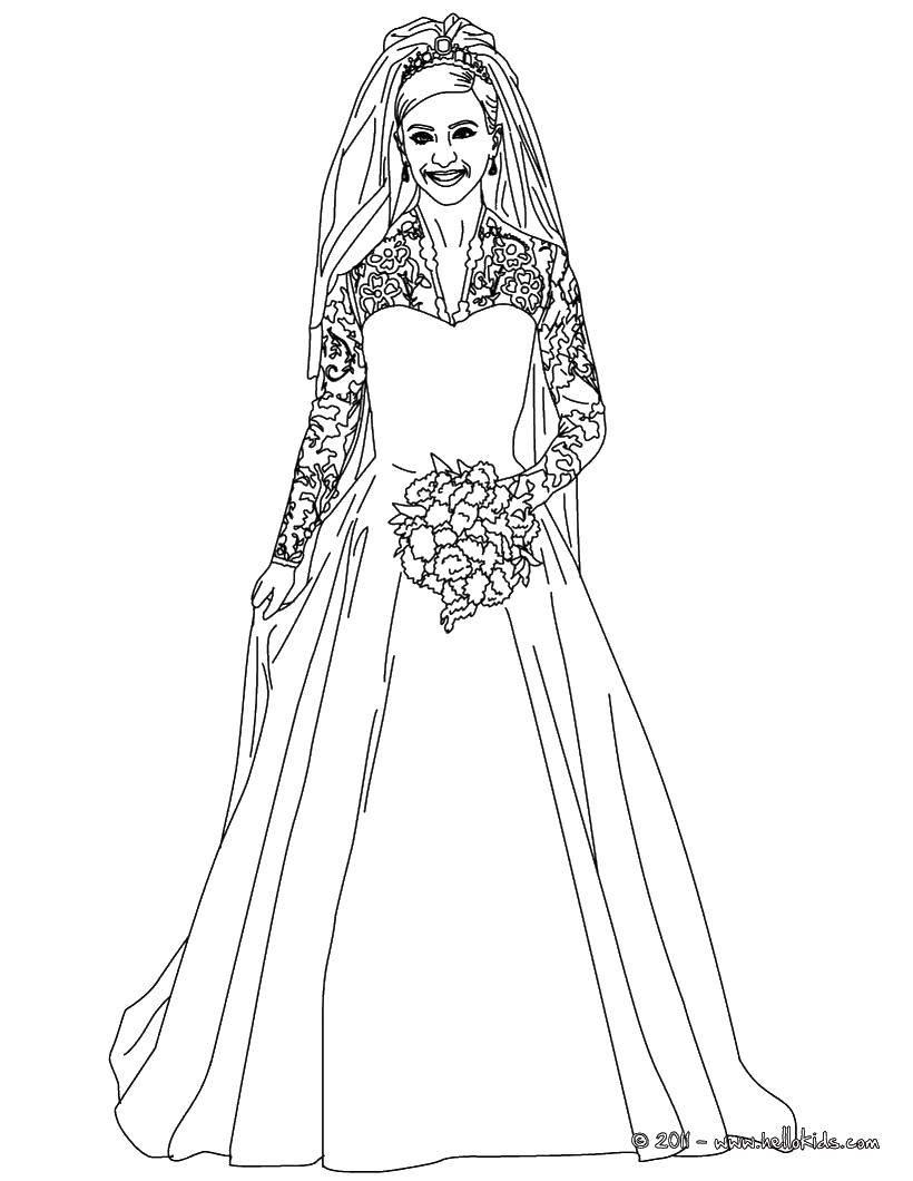 Название: Раскраска Красивая молодая невеста. Категория: Платья. Теги: Свадьба, платье, жених, невеста.