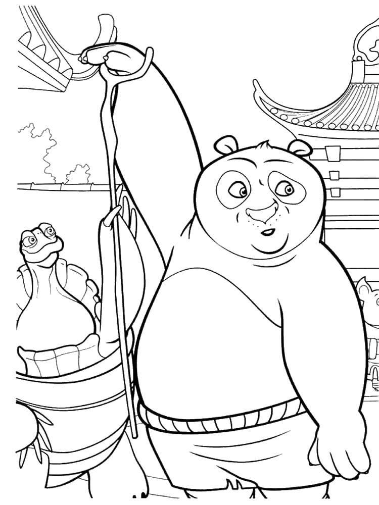 Раскраска Неуклюжий по. Скачать Персонаж из мультфильма.  Распечатать ,кунг фу панда,