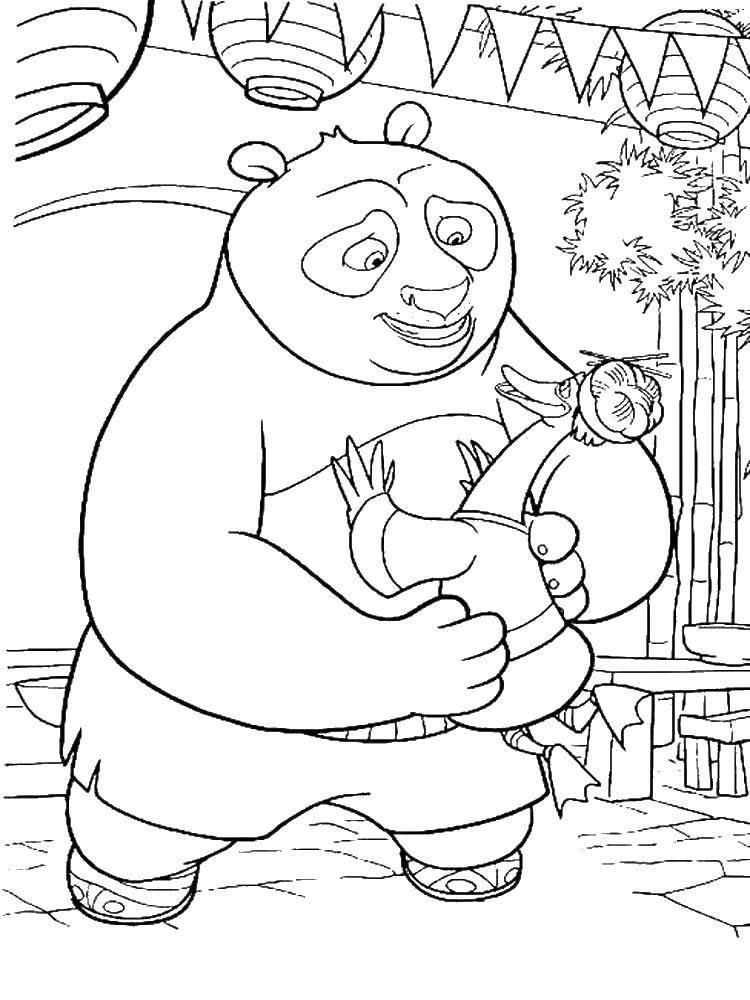 Раскраска По и его папа. Скачать Персонаж из мультфильма.  Распечатать ,кунг фу панда,