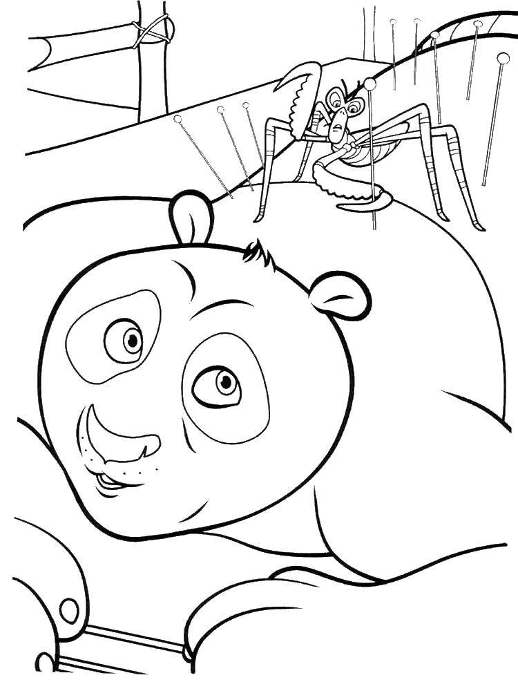 Раскраска По с богомолом. Скачать Персонаж из мультфильма.  Распечатать ,кунг фу панда,