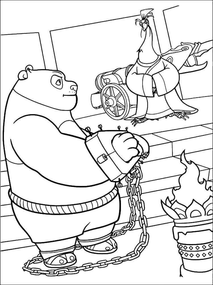 Раскраска По в наручниках. Скачать Персонаж из мультфильма.  Распечатать ,кунг фу панда,