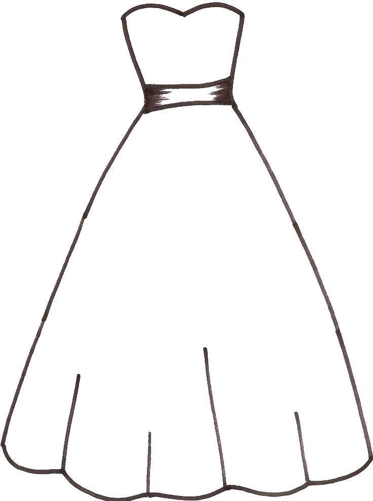 Раскраска Поясок на платье Скачать ,Одежда, платье,.  Распечатать