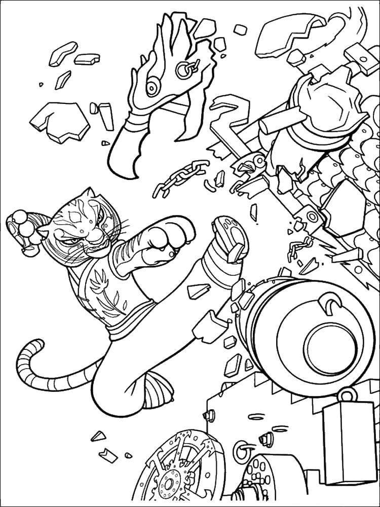 Раскраска Сильная тигрица Скачать Персонаж из мультфильма.  Распечатать ,кунг фу панда,
