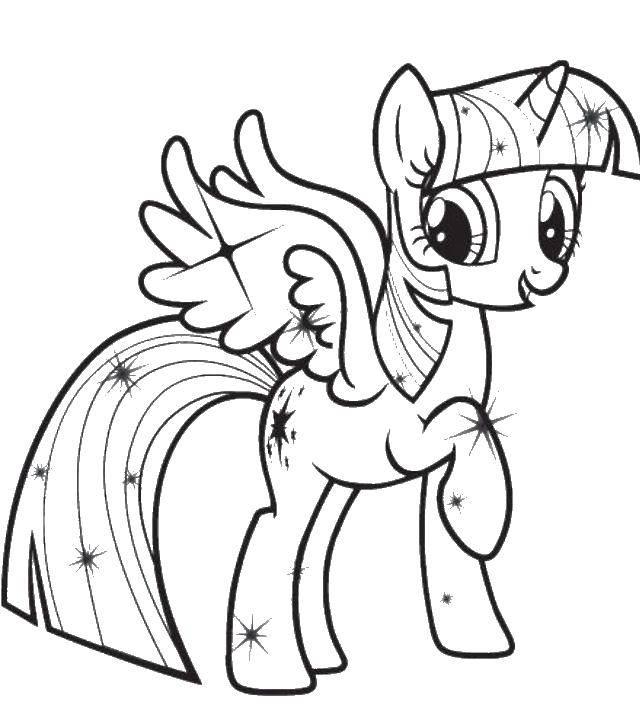 Раскраска Сверкающая твайлет спаркл Скачать мой маленький пони, искорка, твайлет спаркл.  Распечатать ,мой маленький пони,
