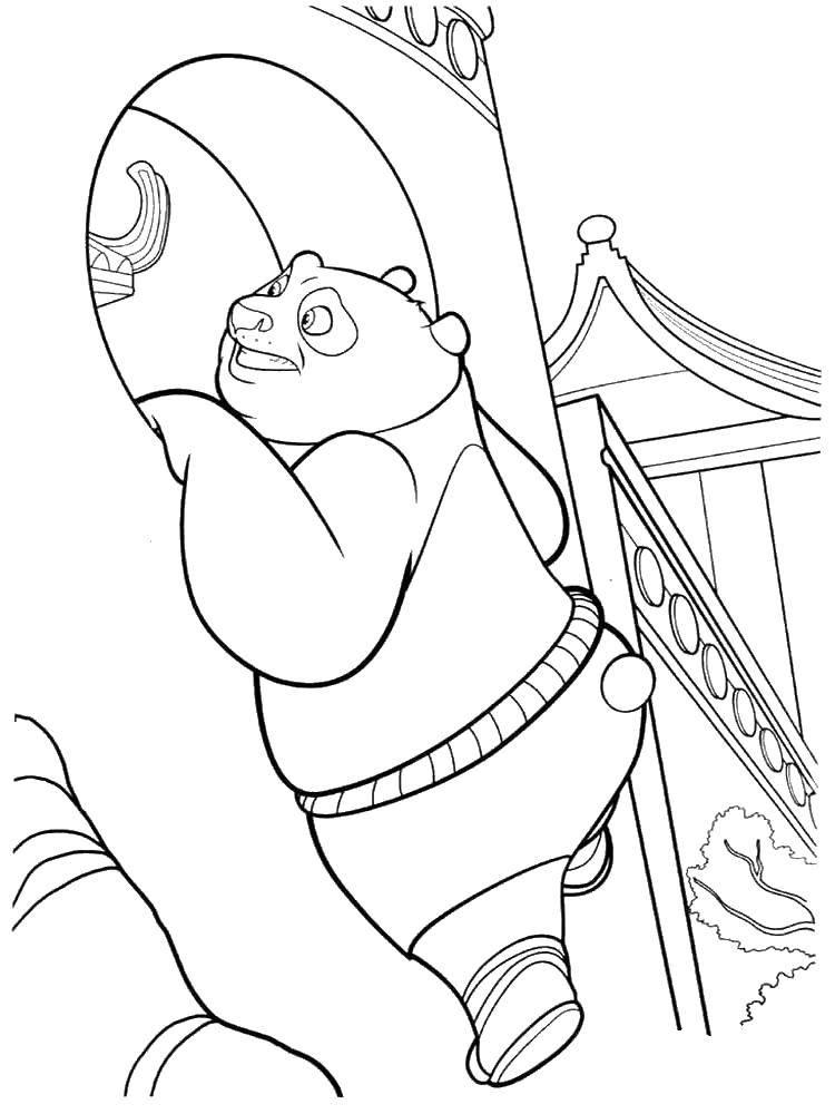 Раскраска Толстенький по. Скачать Персонаж из мультфильма.  Распечатать ,кунг фу панда,