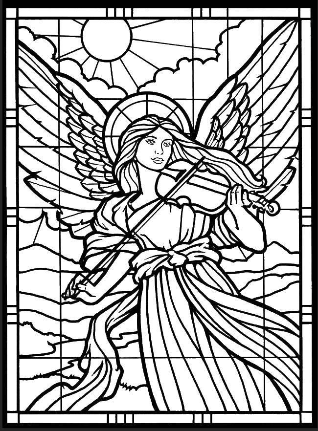 Раскраска Витраж с ангелом. Скачать Ангел.  Распечатать ,ангелы,