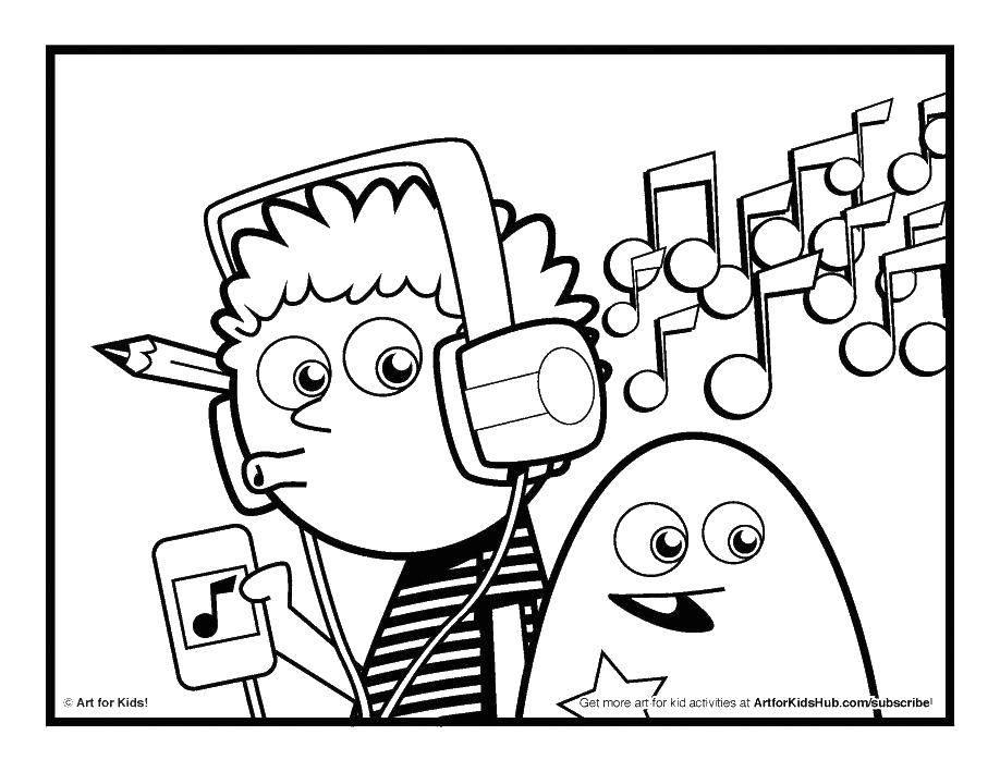 Раскраска Все любят музычку Скачать Музыка, инструмент, музыкант, ноты.  Распечатать ,Музыка,