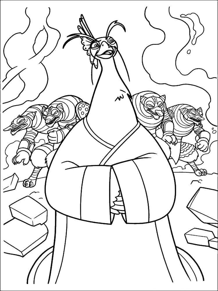 Раскраска Злодеи. Скачать Персонаж из мультфильма.  Распечатать ,кунг фу панда,