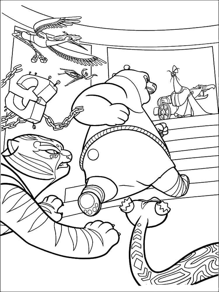 Название: Раскраска По в бою. Категория: кунг фу панда. Теги: Персонаж из мультфильма.