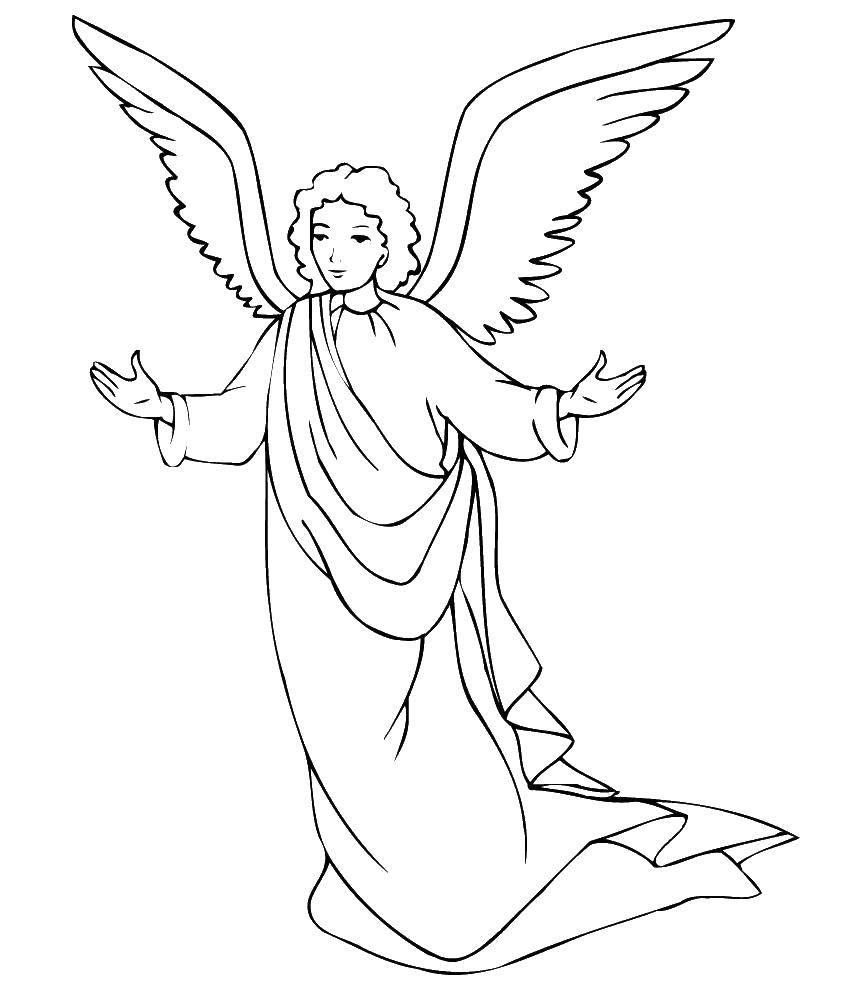 Раскраска Ангел с крыльями. Скачать ангелы, ангел, крылья.  Распечатать ,ангелы,