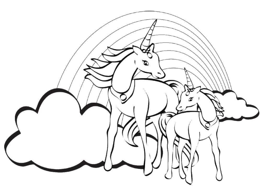 Раскраска Единорог и маленький единорожек Скачать радуга, единороги.  Распечатать ,Радуга,