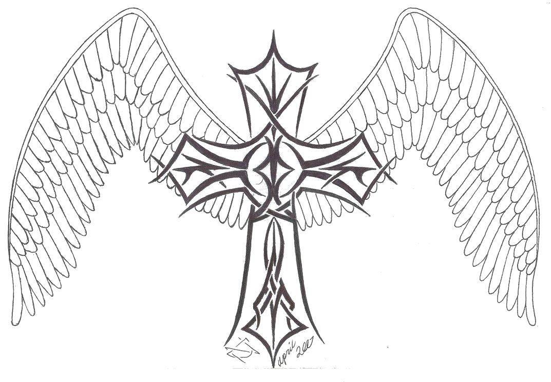 Раскраска Крест Скачать единорог, крылья, хвост.  Распечатать ,раскраски,