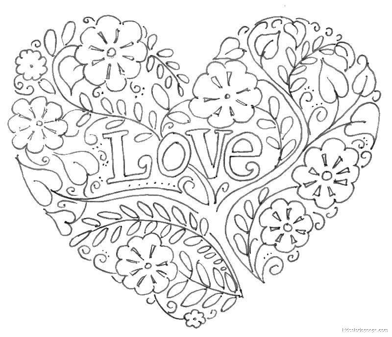 Раскраска Любовь и сердце Скачать сердечки, любовь, узоры.  Распечатать ,Сердечки,