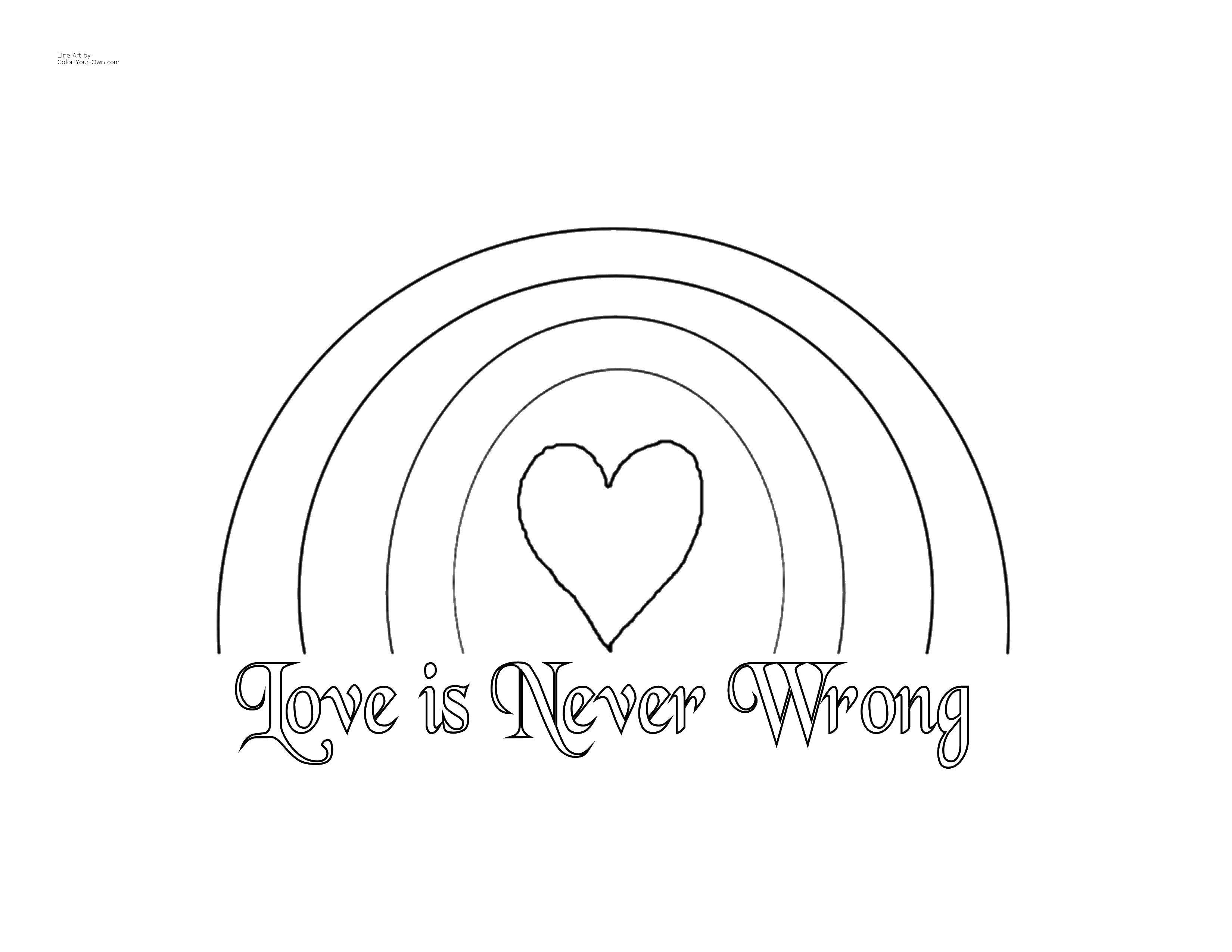 Раскраска Любовь никогда не ошибается Скачать радуга, сердце, любовь.  Распечатать ,Радуга,