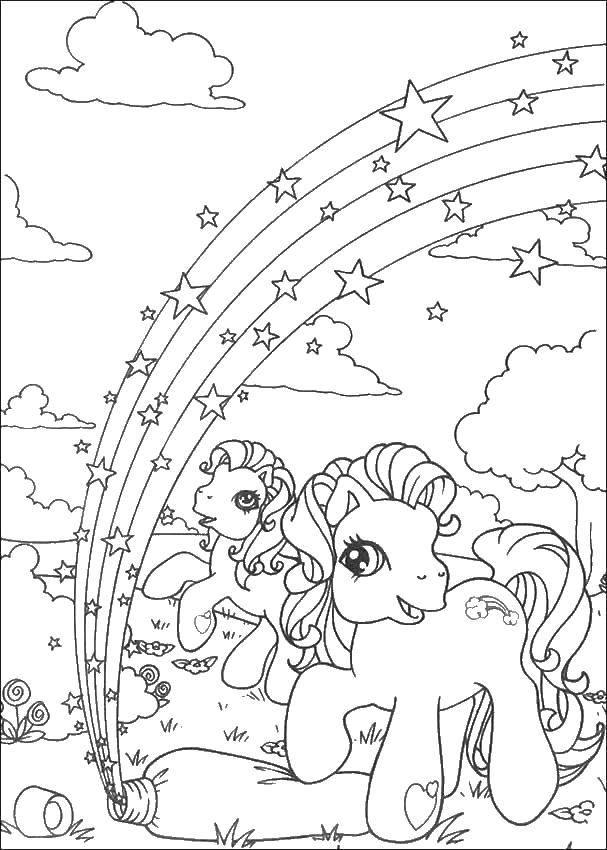 Раскраска Радуга Скачать Животные, свинка.  Распечатать ,Животные,