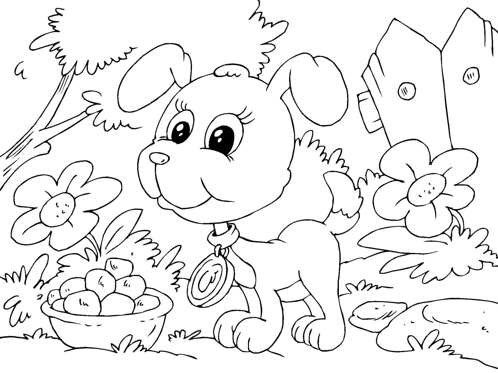 Раскраска Щеночек в саду. Скачать животные, собака, щенок, пес, сад.  Распечатать ,домашние животные,