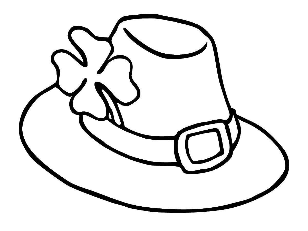 Раскраска Шляпа лепрекона и четырехлистный клевер. Скачать День Святого Патрика, прадзник.  Распечатать ,праздники,