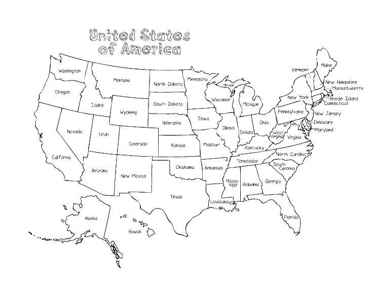 Раскраска Штаты америки. Скачать США, Америка, карта.  Распечатать ,США,