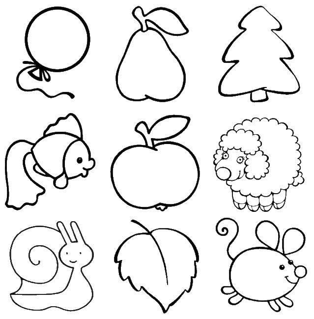Раскраска Воздушный шарик, груша, яблочко, ёлочка, рыбка, овечка, улитка, листок и мышка Скачать Воздушный шарик, фрукты, животные, деревья.  Распечатать ,Раскраски для малышей,