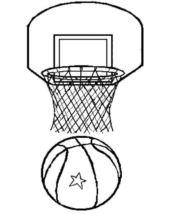 раскраски кольцо раскраска баскетбольное кольцо и мяч спорт