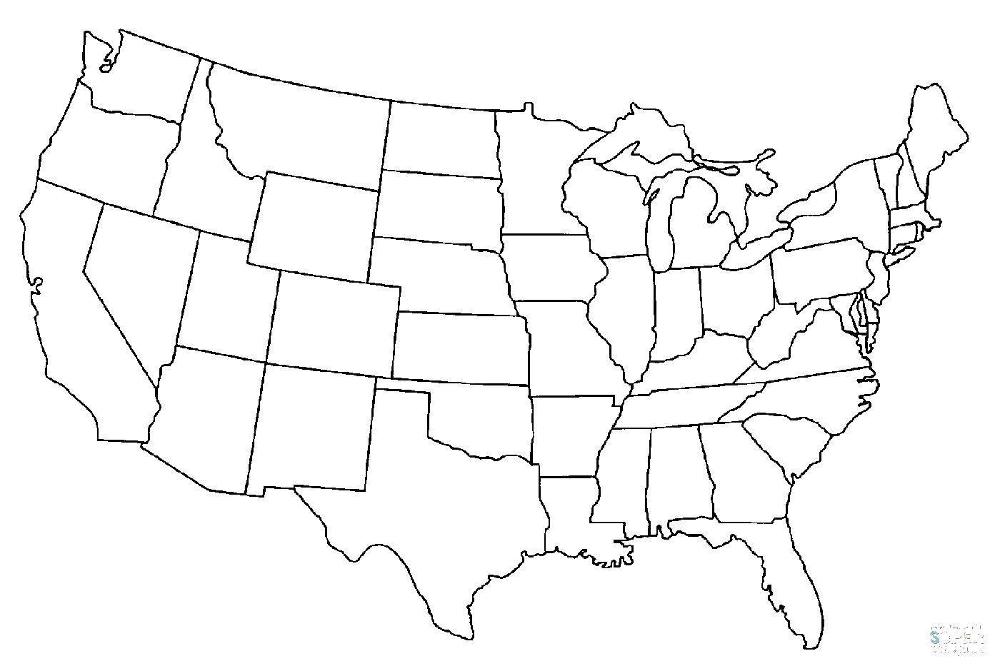 Раскраска США Скачать ,США, Америка, карта,.  Распечатать