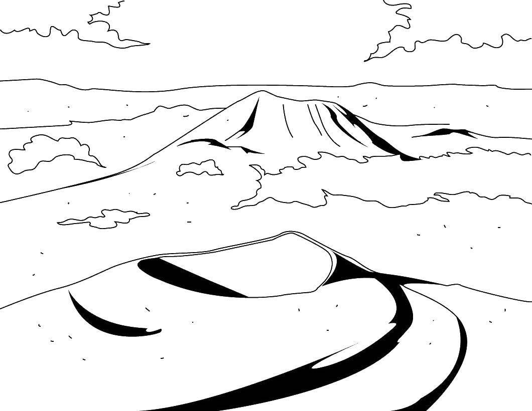 Название: Раскраска Пустыня. Категория: Вулкан. Теги: пустыня, вулканы.