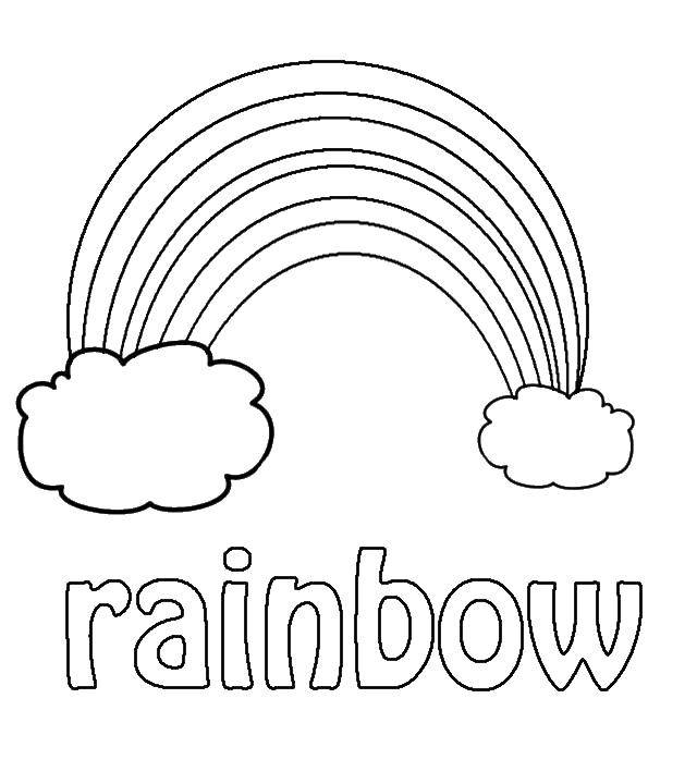 Название: Раскраска Радуга на английском. Категория: Радуга. Теги: радуга, облака.