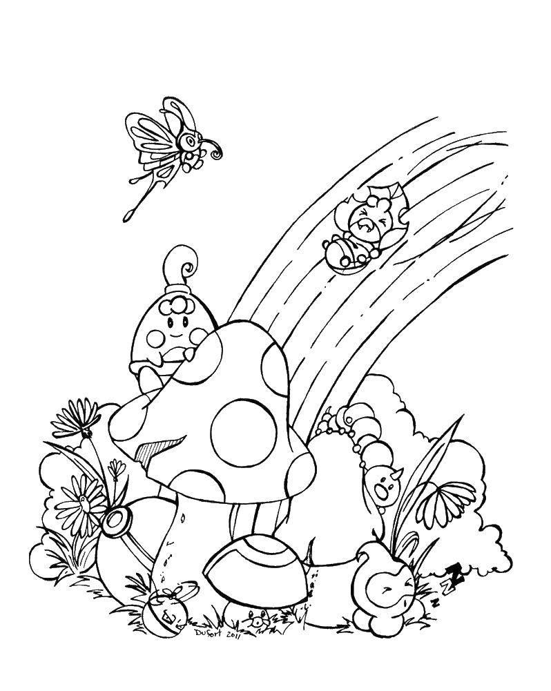 Название: Раскраска Сказочный мир и радуга. Категория: Радуга. Теги: радуга, сказка, грибы.