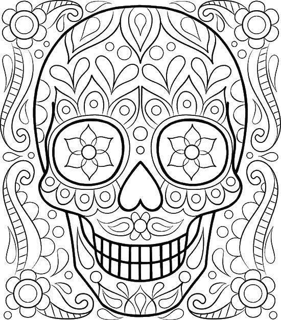Раскраска Череп, узорчики, цветы. Скачать череп, узорчики, цветы.  Распечатать ,череп,
