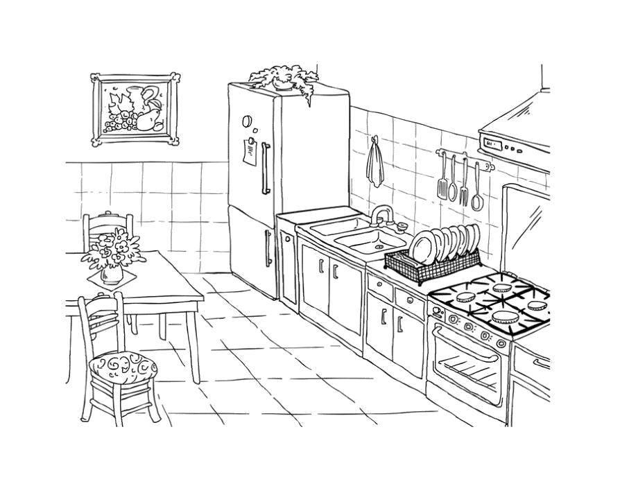 Раскраска Чистая кухня Скачать Кухня, дом, еда.  Распечатать ,кухня,