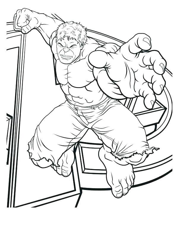 Раскраска Халк в прыжке хочет кого то поймать Скачать .  Распечатать