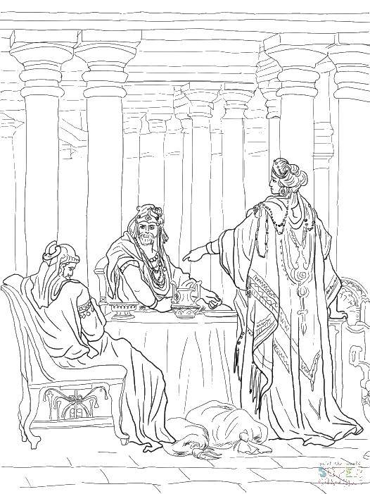 Раскраска Король и королева за столом Скачать король, королевство, стол.  Распечатать ,Король,