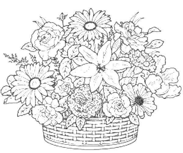 Раскраска Корзина с красивыми цветочками. Скачать корзины, цветы.  Распечатать ,цветы,