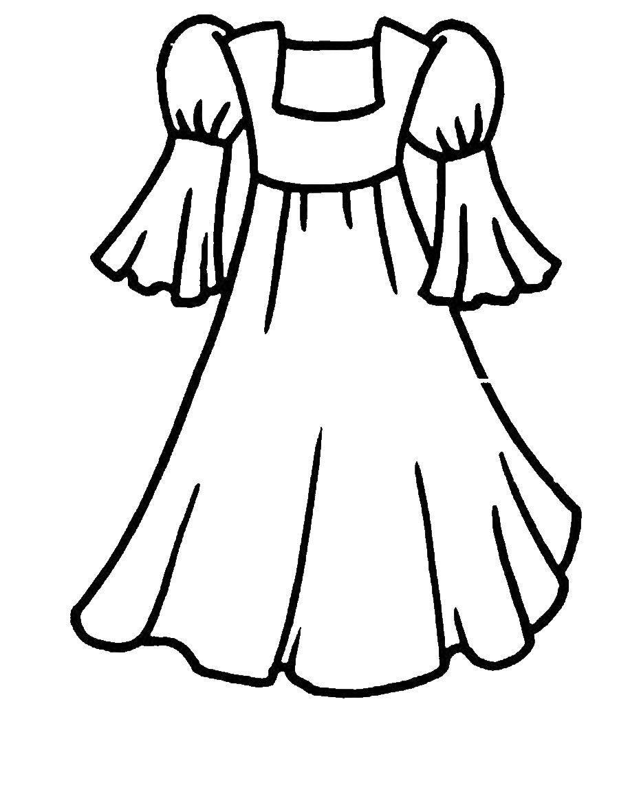 Раскраска Красивое платье принцессы Скачать Одежда, платье.  Распечатать ,Одежда,