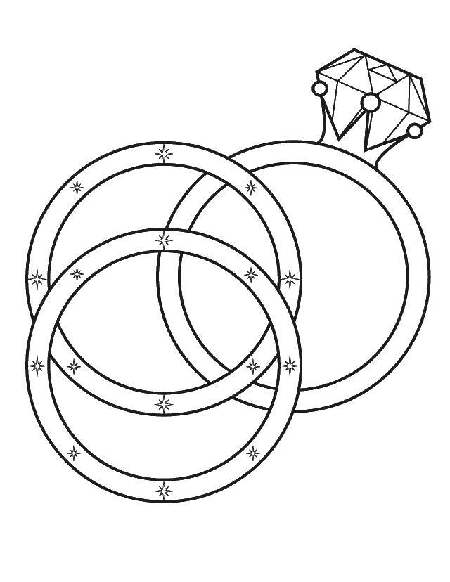 Раскраска Обручальные кольца для свадьбы Скачать свадьба, платье.  Распечатать ,Свадьба,