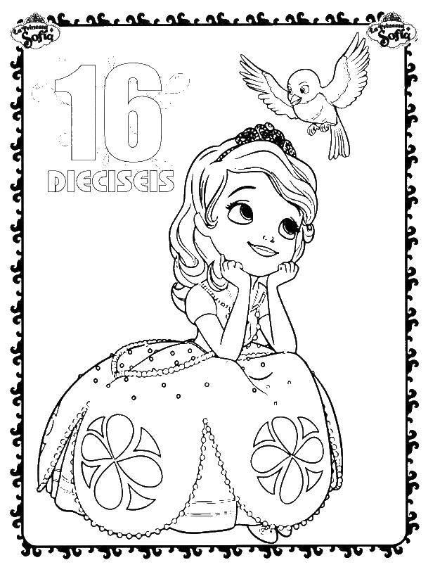 Раскраска Принцесса софия с птичкой Скачать принцесса софия, птица.  Распечатать ,принцесса софия,