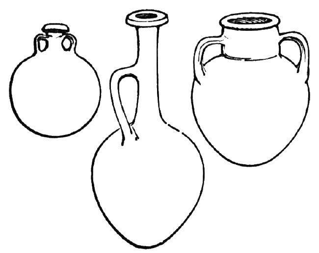 Раскраска Разные кувшины Скачать вазы, кувшины.  Распечатать ,Ваза,