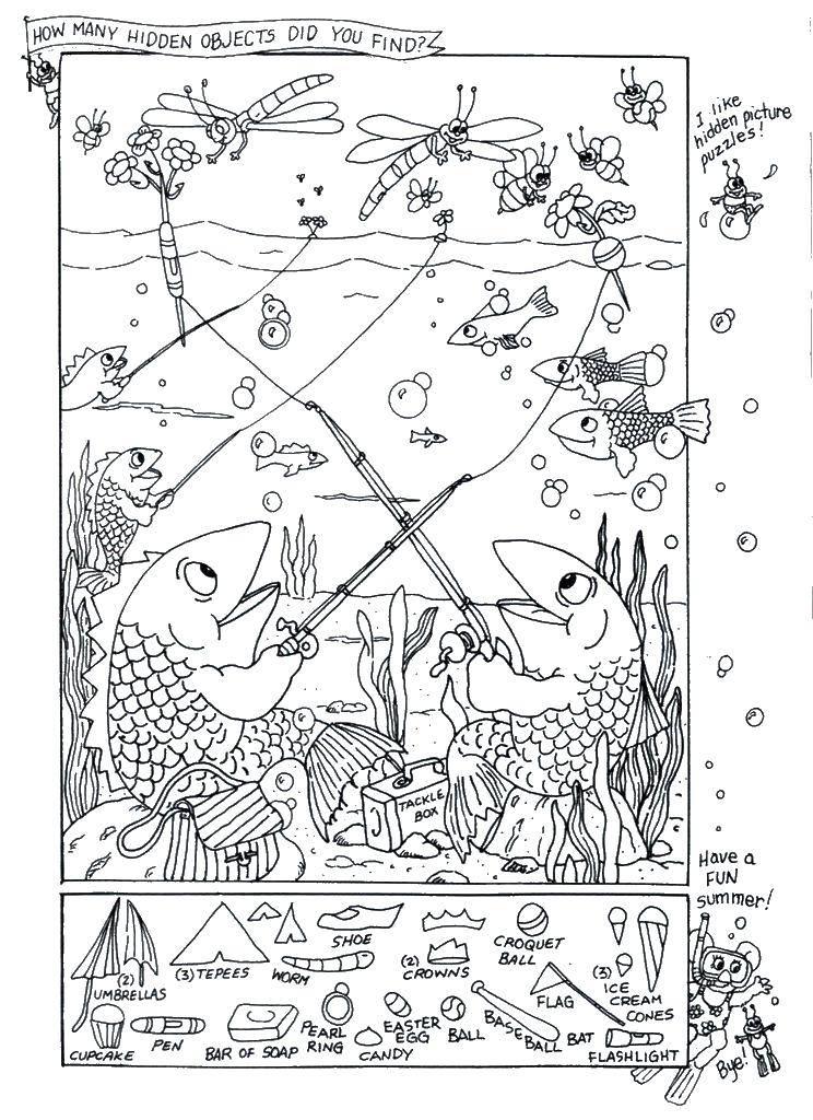 Раскраска Рыбалка у рыбок. найди спрятанные предметы Скачать ,найди что спрятано, найди предметы, рыбки,.  Распечатать