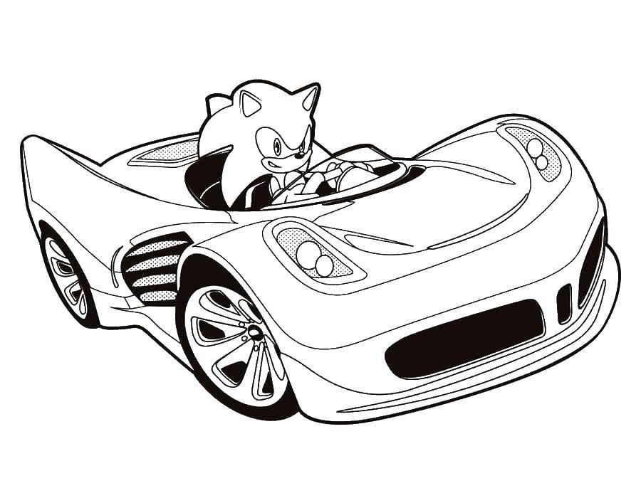 Раскраска Соник на машине. Скачать машины, Соник, мультфильмы.  Распечатать ,раскраски соник,