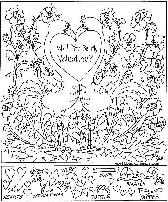 Раскраска Ты будешь моим валентином? найди спрятанные предметы Скачать ,найди предметы, на внимательность,.  Распечатать