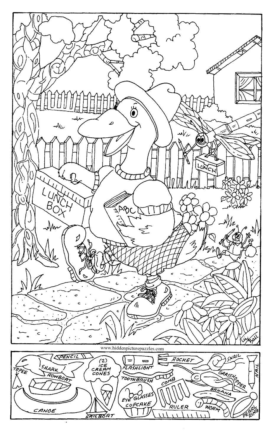 Название: Раскраска Утка идет в школу. Категория: Найди что спрятано. Теги: Утка, птица.