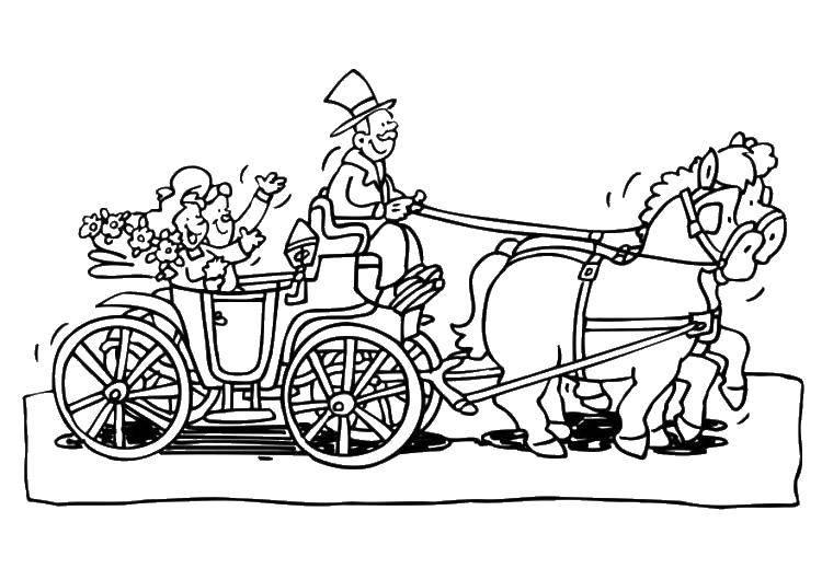 Раскраска Жених и невеста в карете с лошадьми Скачать жених, невеста, свадьба.  Распечатать ,Свадьба,