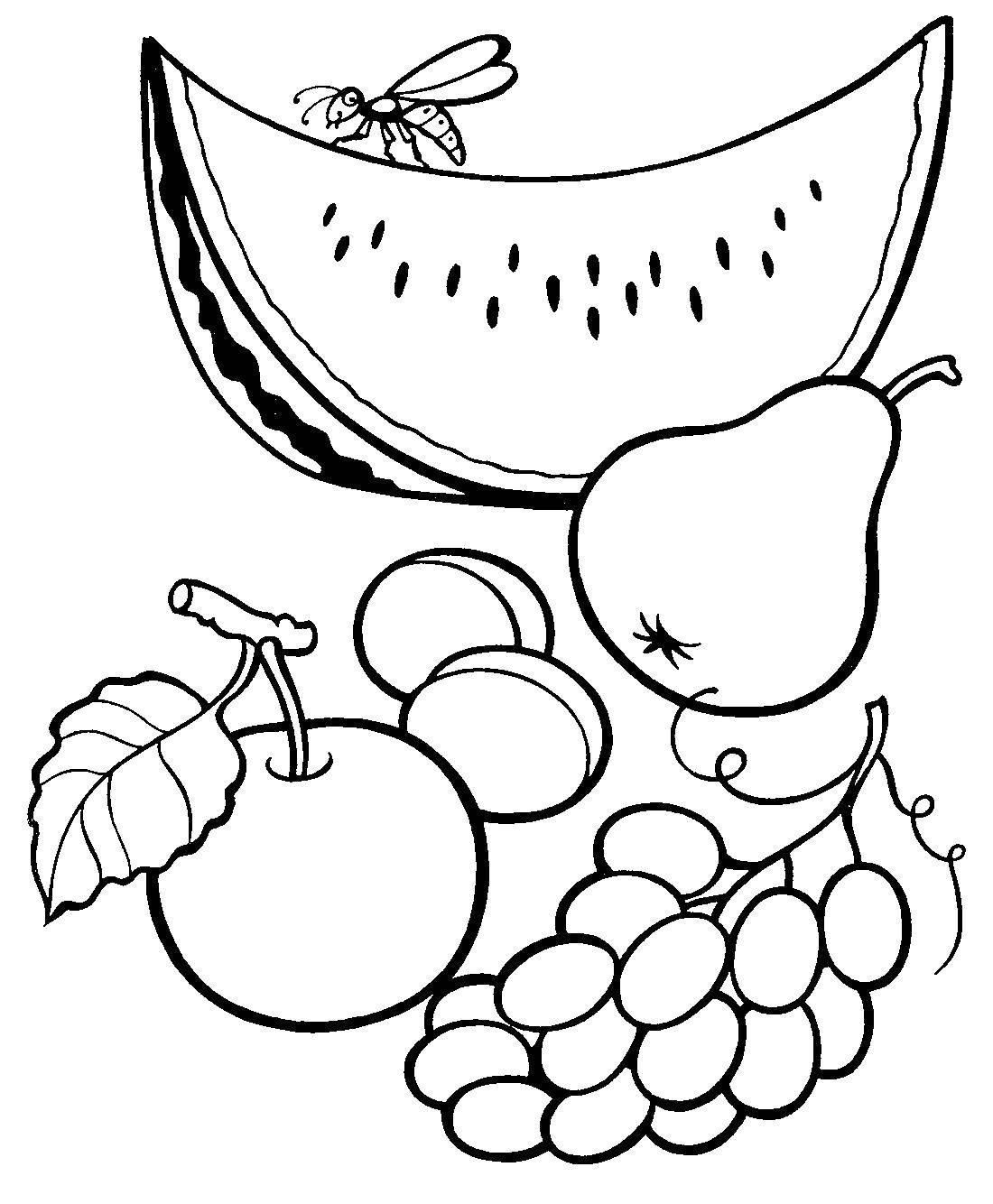 Название: Раскраска Фрукты и ягоды. Категория: еда. Теги: фрукт, ягоды, лето.