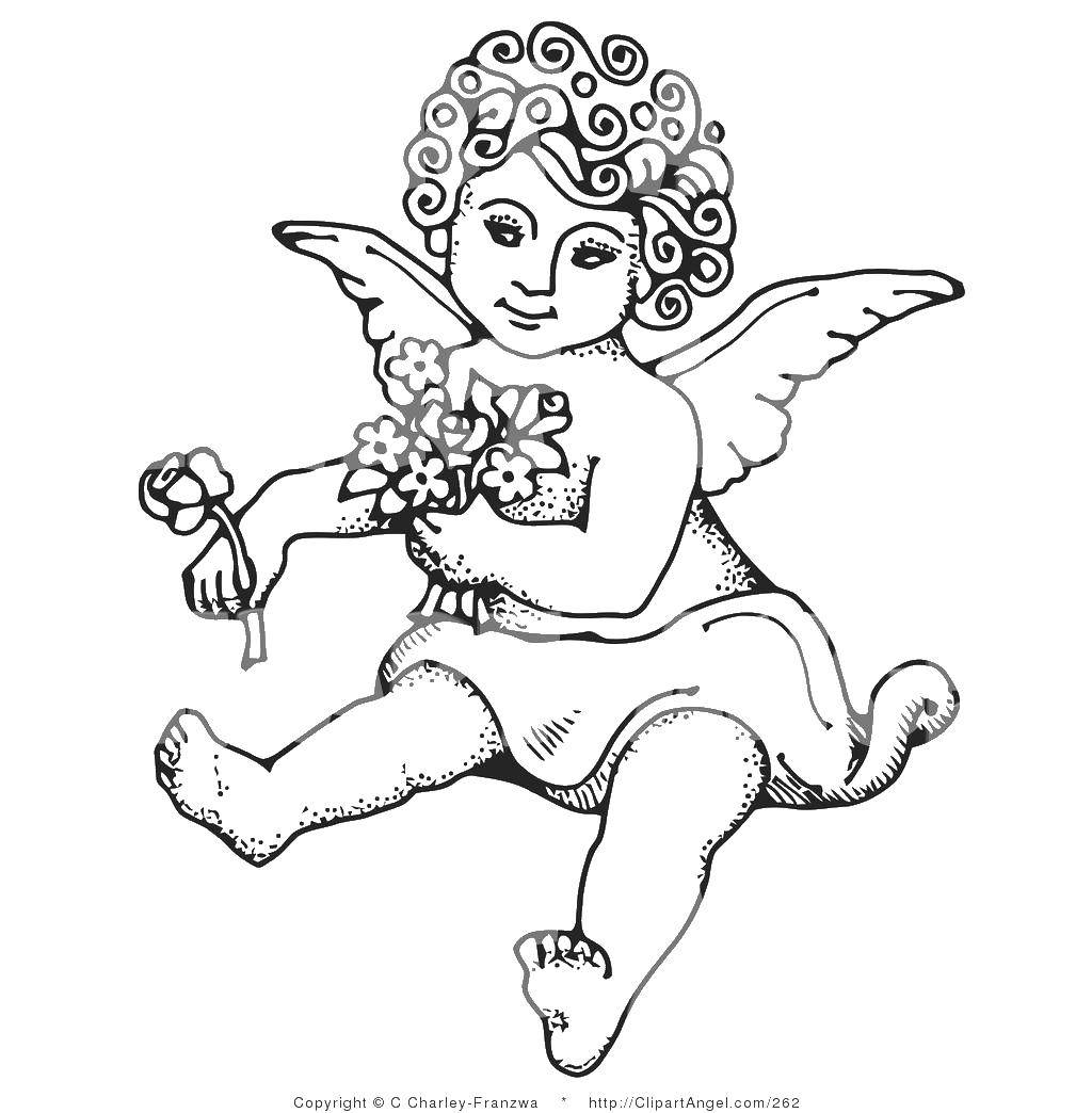 Раскраска Ангел с цветами. Скачать Ангел.  Распечатать ,ангелы,