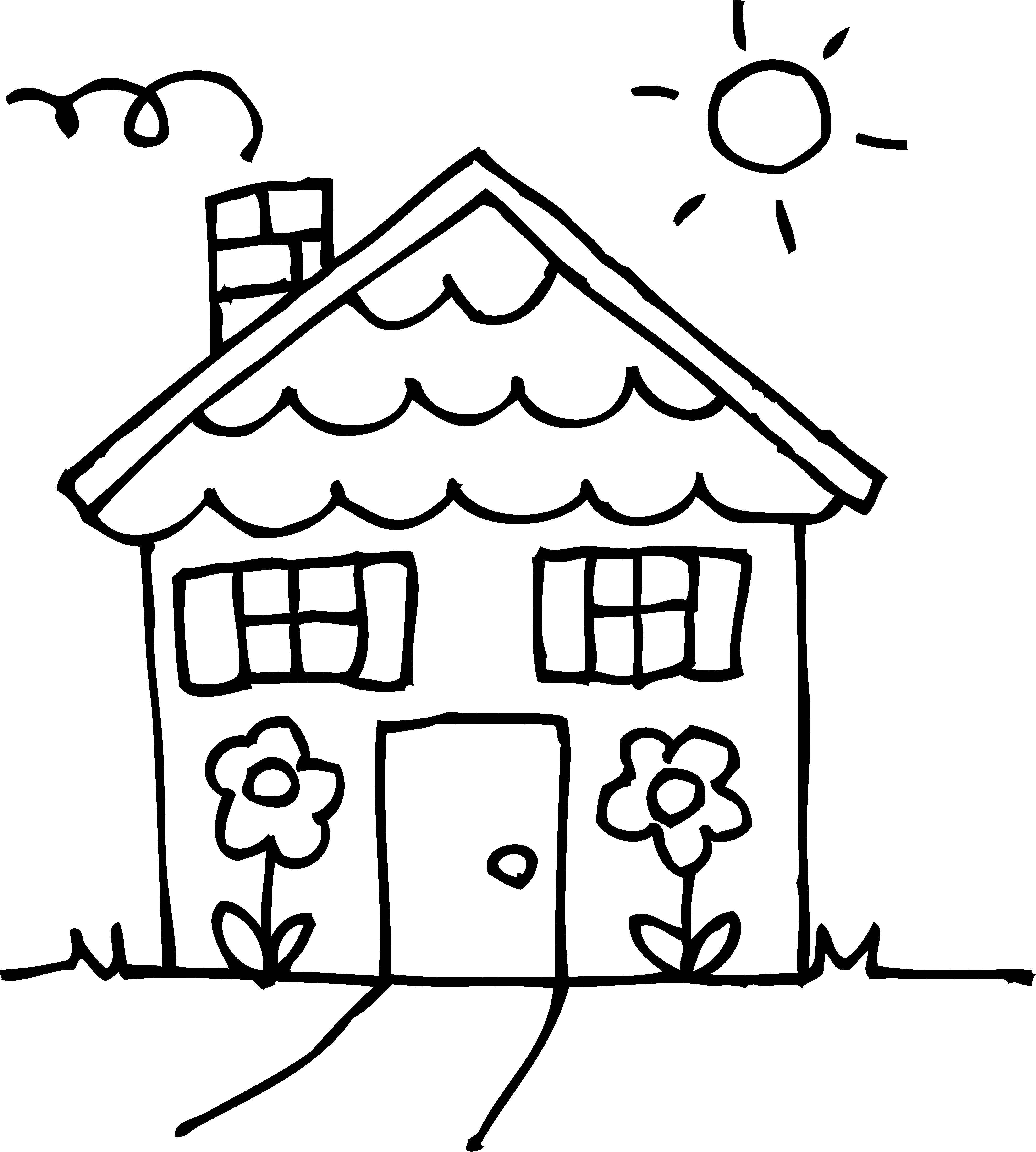 Раскраска Домик с цветочками. Скачать дом, цветочки.  Распечатать ,дома,